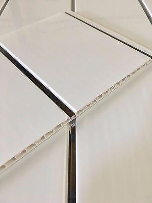 2 Of 12 Gloss White Chrome Bathroom Ceiling Panels Kitchen Cladding PVC  Shower Wet Wall