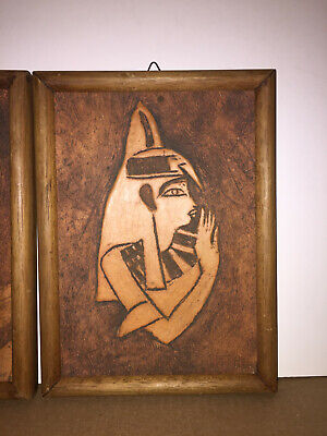 2  Antique Terracotta Carved Wall Plaque, Art, Egyptian Folk Art Signed, Nice 5