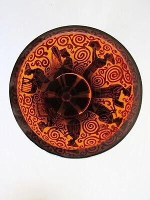 Czech/Bohemian ACID ETCHED Amber Glass VASE ART DECO Oroplastic 1920 Ruby Panels 4