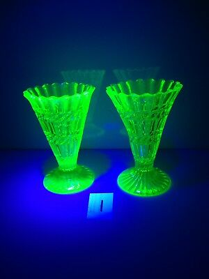 PAIR OF ANTIQUE c1880 HENRY GREENER GREEN VASELINE / URANIUM GLASS TRUMPET VASES 11