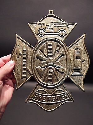 Antique Vintage Style Brass Fire Fighter Plaque Fire Mark Sign 4