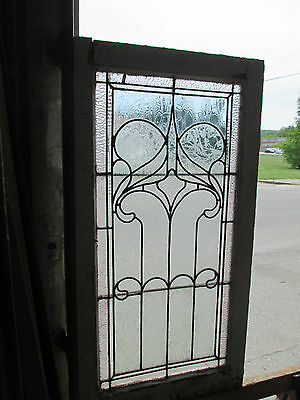 ~ ANTIQUE AMERICAN STAINED GLASS WINDOW ~ 22.75 x 43 ~ ARCHITECTURAL SALVAGE ~ 8