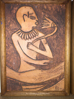 2  Antique Terracotta Carved Wall Plaque, Art, Egyptian Folk Art Signed, Nice 3