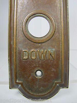 Antique Elevator Panel Up Down Bronze Brass bevel edge deco ornate orig embossed 3