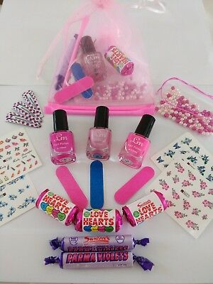 Girls Pamper Sleepover  Birthday Party Pre-filled Pink Organza Gift Bag 3
