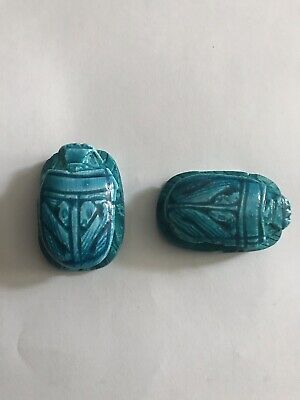 2x_Egyptian Pharaoh Scarab Paperweight Sculpture, Hand Carved ceramic, (4x3) Cm 3