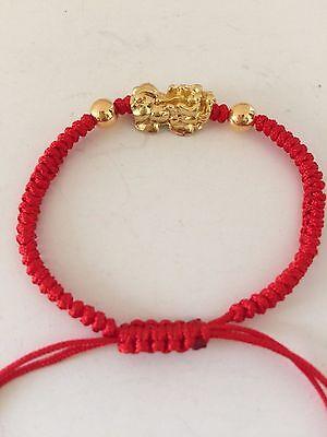 1 Of 2 Feng Shui Red String Bracelet With Little Golden Pi Yao Xia Xie Xiu