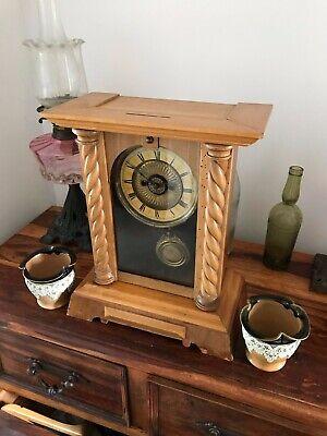 Rare Antique Wurttemburg German Beech Cased Mantle Bracket Clock 2