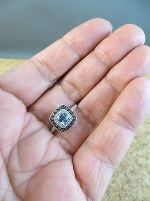 New Genuine Swiss Blue & Smoky Topaz Sapphire Ring 925 Sterling Silver #414 5