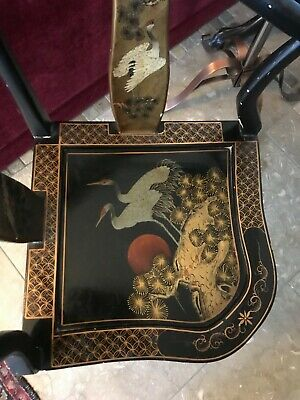 Vintage Chinese Black Lacquer Corner Chair Decorative 4