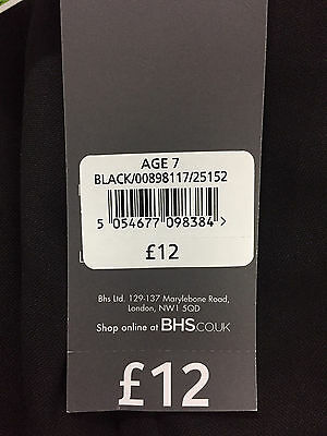 Girls School Trousers Bhs Black Grey 4 5 6 7 8 9 10 11 12 13 14 15 Years New 4