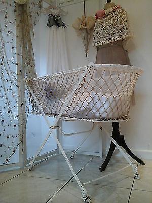 RARE Original Antique Victorian Iron Bassinet Baby Moses Cot Crib Bed~1800/1900 3