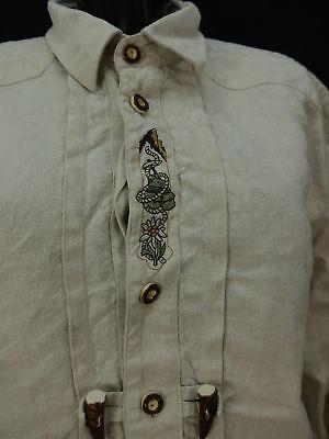 Gr.XL Trachtenhemd Hemd Alphorn beige Leinen Edelweiß Stickerei TH1079 2