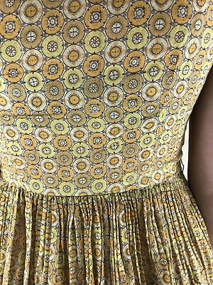 Vintage 40s 50s Yellow Full Skirt Geometric Cotton Casual Party Dress S M 10