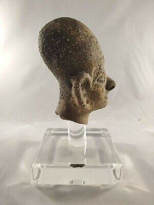 Amazing Archaic Style Bust Pottery on Clear acrylic display base -Mesoamercian? 3
