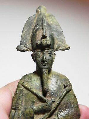 ZURQIEH -as6761- ANCIENT EGYPT, LARGE BRONZE STATUE OF OSIRIS. 600 B.C 2
