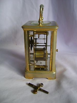 ANTIQUE c1880 FRANCOIS ARSENE MARGAINE TIMEPIECE CARRIAGE CLOCK + KEY IN GWO 6