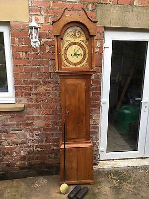 pine grandfather clock reduced£495 2
