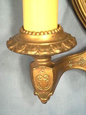 Pair Of Victorian Art Nouveau Art Deco Gold Metal Shield Back Double Arm Sconces 9