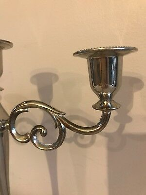 Silver Plated Triple Arm Candlestick Holder Weighted