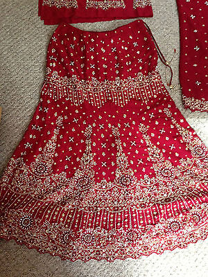 lovely maroon red bridal lengha - indian - bollywood new with tags size 12 - 16 2