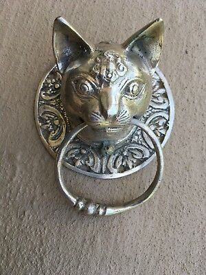Small CAT head heavy Door handle SOLID brass old style polished ring pull 7cm  B 2