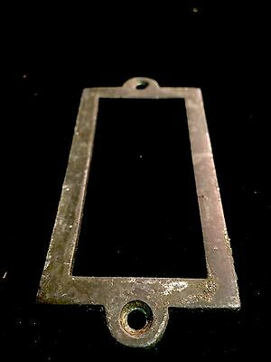 Antique Heavy brass name plaques , apothecary Draw Dresser Handle Knocker Bronze 7
