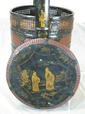 Bamboo Food Basket with Hand Painted Handle 6
