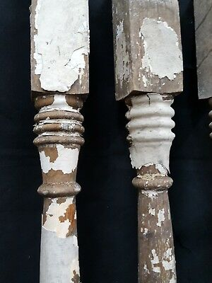 Architectural Salvage 4 Wooden Spindles Balusters Double Spiral Collar Design 2