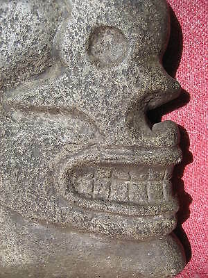 Mayan Skull Form Basalt Hacha from an Old California Collection with Data Tag 5