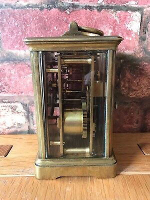 Antique French 1910 Brass & Glass Bevelled Travelling Carriage Mantle Clock 5