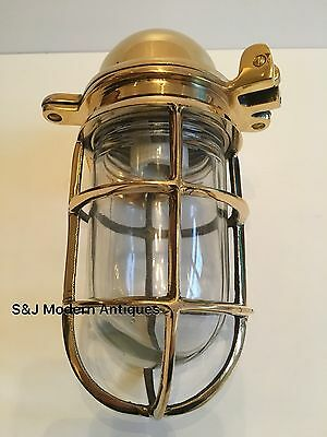 Antique Industrial Wall Light Vintage Cage Bulkhead Gold Brass Ship Lamp Old 5