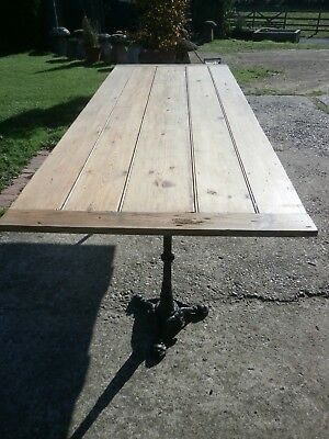 Antique pine table with twin pedestal cast iron legs 2