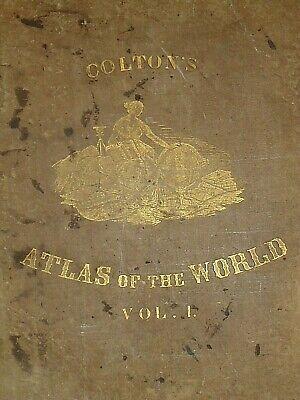 Vintage 1857 MAP ~ EASTERN HEMISPHERE ~ Old Antique Original Colton's Atlas Map 3