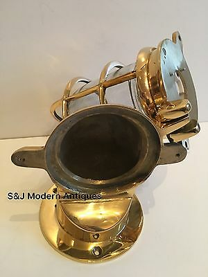 Antique Industrial Wall Light Vintage Cage Bulkhead Gold Brass Ship Lamp Old 7