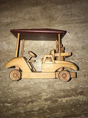 Carved Wood Golf Cart Complete with Golf Bags and Clubs Multi Colored Wood Doug 5