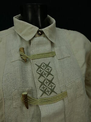 Gr.XL Trachtenhemd Alpenland beige dünnes Leinen mit Kreuzstich Stickerei TH995 2