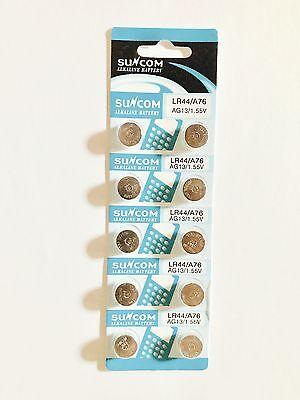 10 X Ag13 Lr44 Sr44 L1154 357 A76 Alkaline Button Coin Cells Batteries Suncom 2