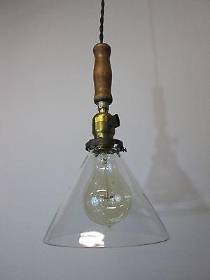 """Vintage Industrial Drop Pendant Light Wooden Handle Scientific Cone Shade 13"""" 5"""
