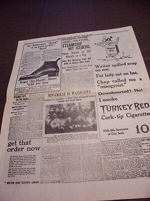 TITANIC NEWSPAPER 1912 Boston Globe/Marsh Murder Story/Ty Cobb Quits Team  !!!!! 8