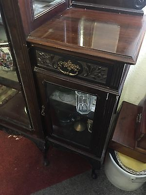 STUNNING MIRROR BACKED EMPIRE CABINET CARVED GLASS DISPLAY 7ft ANTIQUE 6