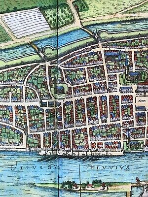 Old Antique Historic Map Bremen, Germany: 1598 Braun & Hogenberg REPRINT 1500's 5