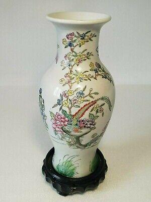 🔅 chine vase a décor oiseaux, papillons, floral à identifier 11