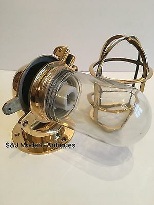 Antique Industrial Wall Light Vintage Cage Bulkhead Gold Brass Ship Lamp Old 11