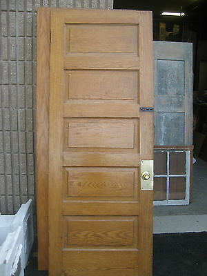 "circa 1900 SOLID oak PANELED door CHICAGO brownstone 83.25"" x 32"" x 1 3/8"""