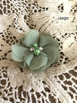 DIY Chiffon Fabric Flower with Pearls and bling Rhinestone Embellishment Craft 4