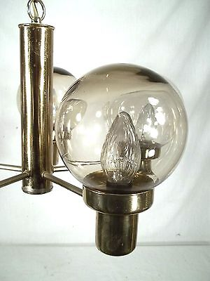 Mid Century Modern 5 Light Brass Chandelier With Tinted Glass Globes 5