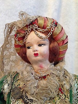 "Antique European Mediterranean Greek Doll - Silk Cloth Face - 14.5"" Tall 2"
