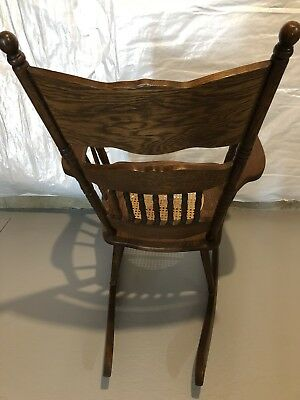 ANTIQUE VICTORIAN oak pressed back rocking chair with cane seat!  BEAUTIFUL!! 3
