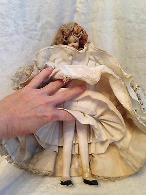 "Antique European Mediterranean Greek Doll - Silk Cloth Face - 14.5"" Tall 9"